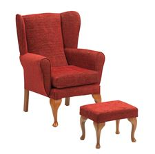 Picture for category Queen Anne Chair/Footstool - Crimson
