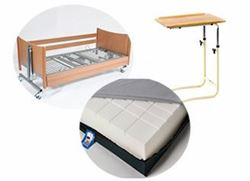 Picture of Bedroom Bundle 2 - Profiling Bed, Medium Risk Foam Mattress, Static Overbed Table