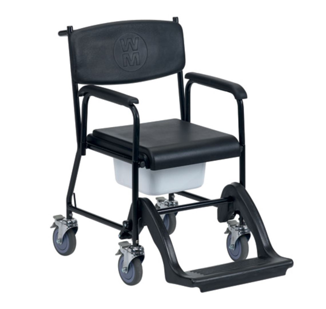 Picture of Markfield Mobile Commode With 4 Brake Castors & Plastic Footrest