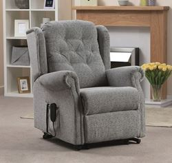 Picture of Button Back Dual Motor Riser Recliner - Patchwork Chocolate
