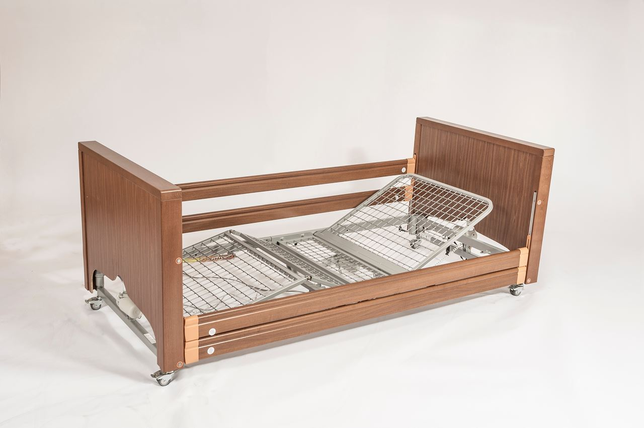 Picture of Casa Med Classic FS Low Profiling Bed - Walnut with Metal Mesh and Side Rails