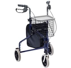 Picture of Steel Tri-Walker with Bag, Basket & Tray - Blue