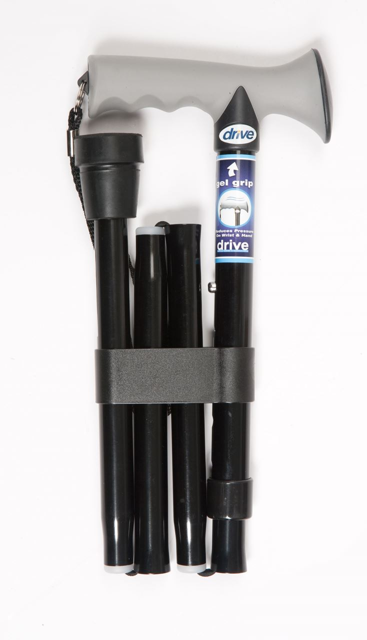 Picture of Folding Walking Stick with Gel Grip Handle - Black Plain