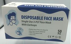 Picture of Disposable Face Masks 3Ply Ear Loop - Box 50