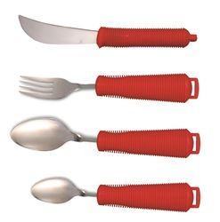 Picture of Bendable Cutlery Set of 4 (Teaspoon, Spoon, Knife, Fork) - RED