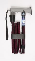 Picture of Folding Walking Stick with Gel Grip Handle - Red Crackle Pattern