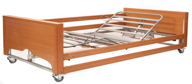 Picture of Bariatric FS Profiling Bed - Beech with Metal Mesh and Wooden Side Rails
