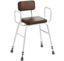 Picture of Perching Stool Foam Seat/Back with Steel Arms - Adjustable Height (Brown)