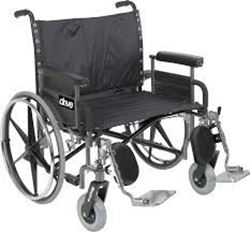 """Picture of 24"""" Sentra Steel Bariatric HD Plus Wheelchair With Footrests in Black - Self Propel"""