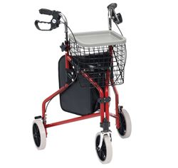 Picture of Steel Tri-Walker with Bag, Basket & Tray - Red