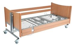 Picture of Casa Med SE Deluxe Profiling Bed - Beech with Metal Mesh and Side Rails
