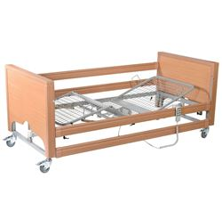 Picture of Casa Elite Care Home Beds (Covered End) Low in Beech with Wooden Side Rail Kit