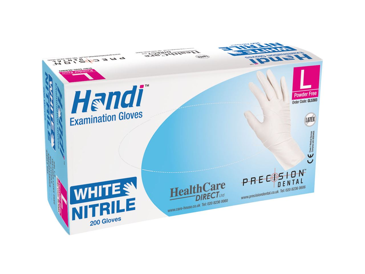 Picture for category White Nitrile Powder Free Gloves by Handi (200/box)