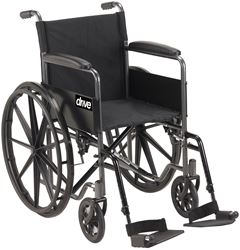 """Picture of Silver Sport Steel Wheelchair 45cm (18"""") - Self Propel w/ Folding Arms"""