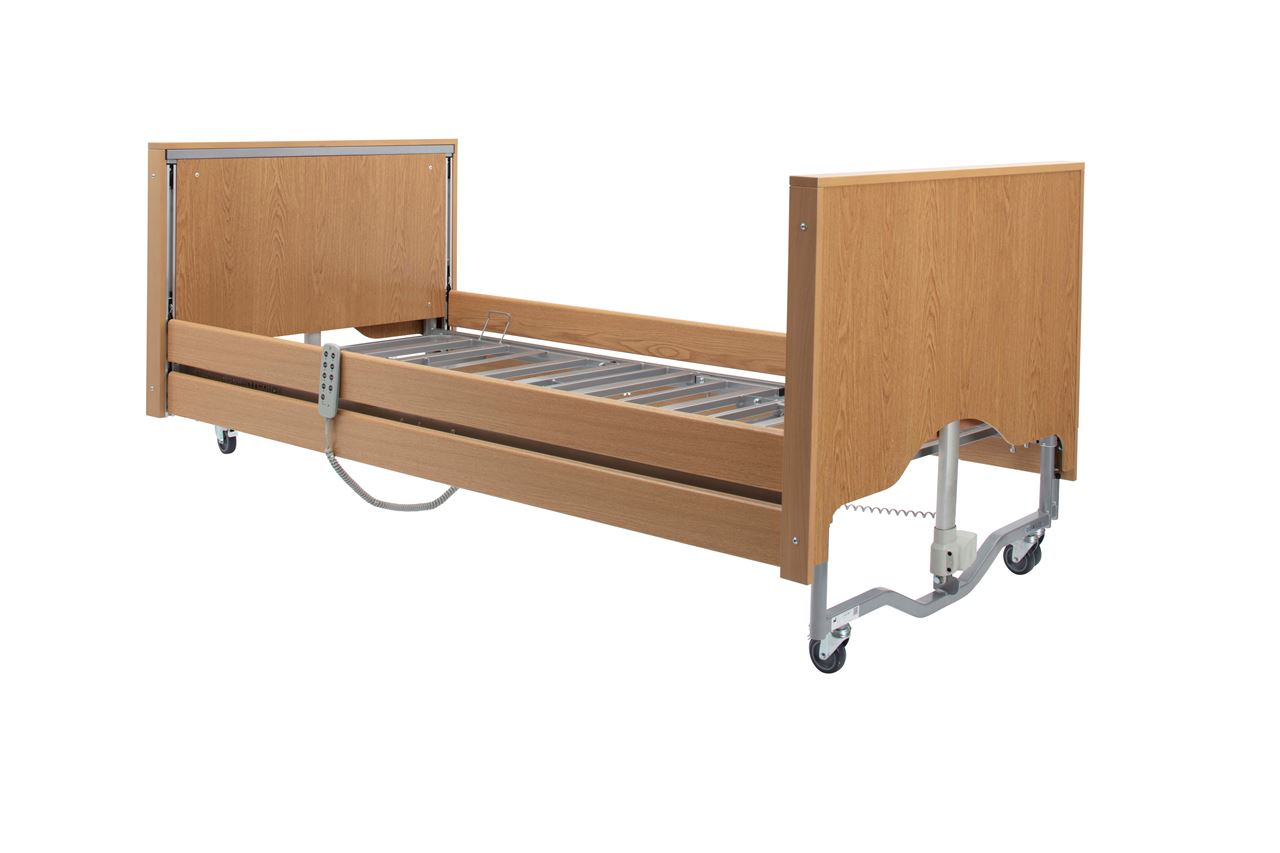Picture of Casa Elite Care Home Bed (Covered End) Standard in Light Oak with Wooden Side Rail Kit