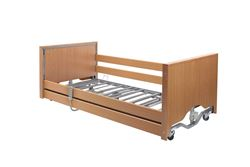Picture of Casa Elite Care Home Bed (Covered End) Low in Beech with Wooden Side Rail Kit