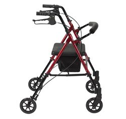 """Picture of Height Adjustable Rollator with 8"""" Wheels (Red)"""