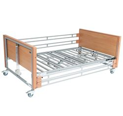 Picture of Ultra Low Bariatric Profiling Bed - Beech with Metal Mesh and Wooden Side Rails (Exposed Actuators)