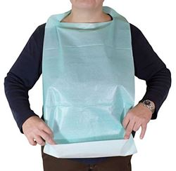 Picture of Disposable Adult Bibs with Front Pocket - BLUE (50/pack)