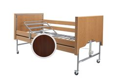 Picture of Casa Elite Care Home Bed (Covered End) Standard in Walnut with Wooden Side Rail Kit