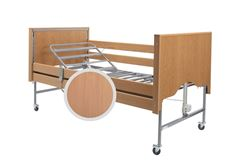 Picture of Casa Elite Care Home Bed (Covered End) Standard in Beech with Wooden Side Rail Kit